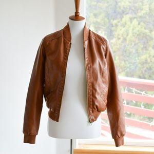 Vintage Faux Leather Bomber Jacket Sz S